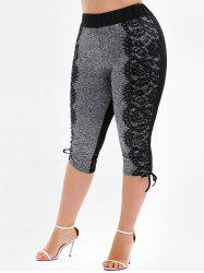 Plus Size Drawstring Cinched Capri Leggings -