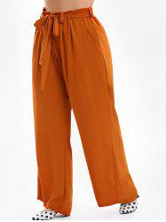 Plus Size Belted Wide Leg Pants -