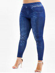 High Rise 3D Jean Print Plus Size Skinny Leggings -