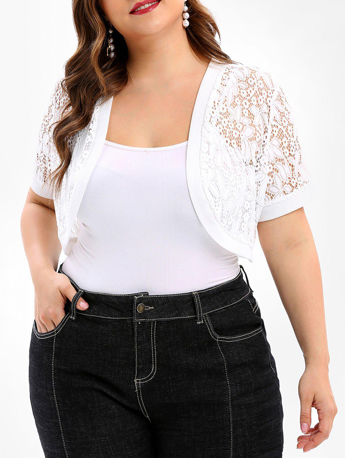 b2a618bbe818c 2019 Lace Panel Plus Size Collarless Crop Top