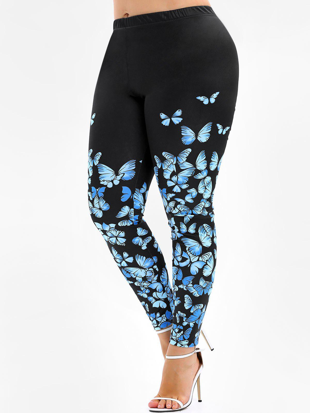 Discount 3D Butterfly Print Plus Size Skinny Leggings