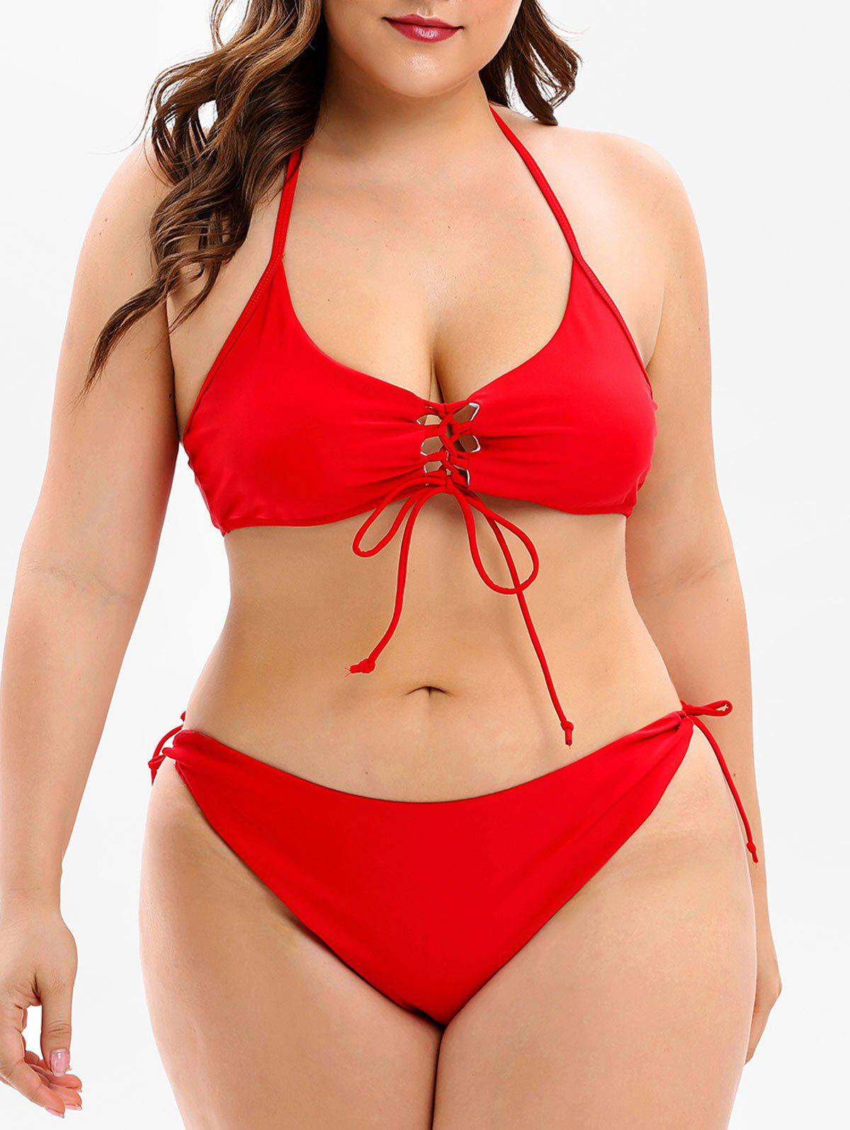 Affordable Lace Up Plus Size Halter Neck Bikini Set