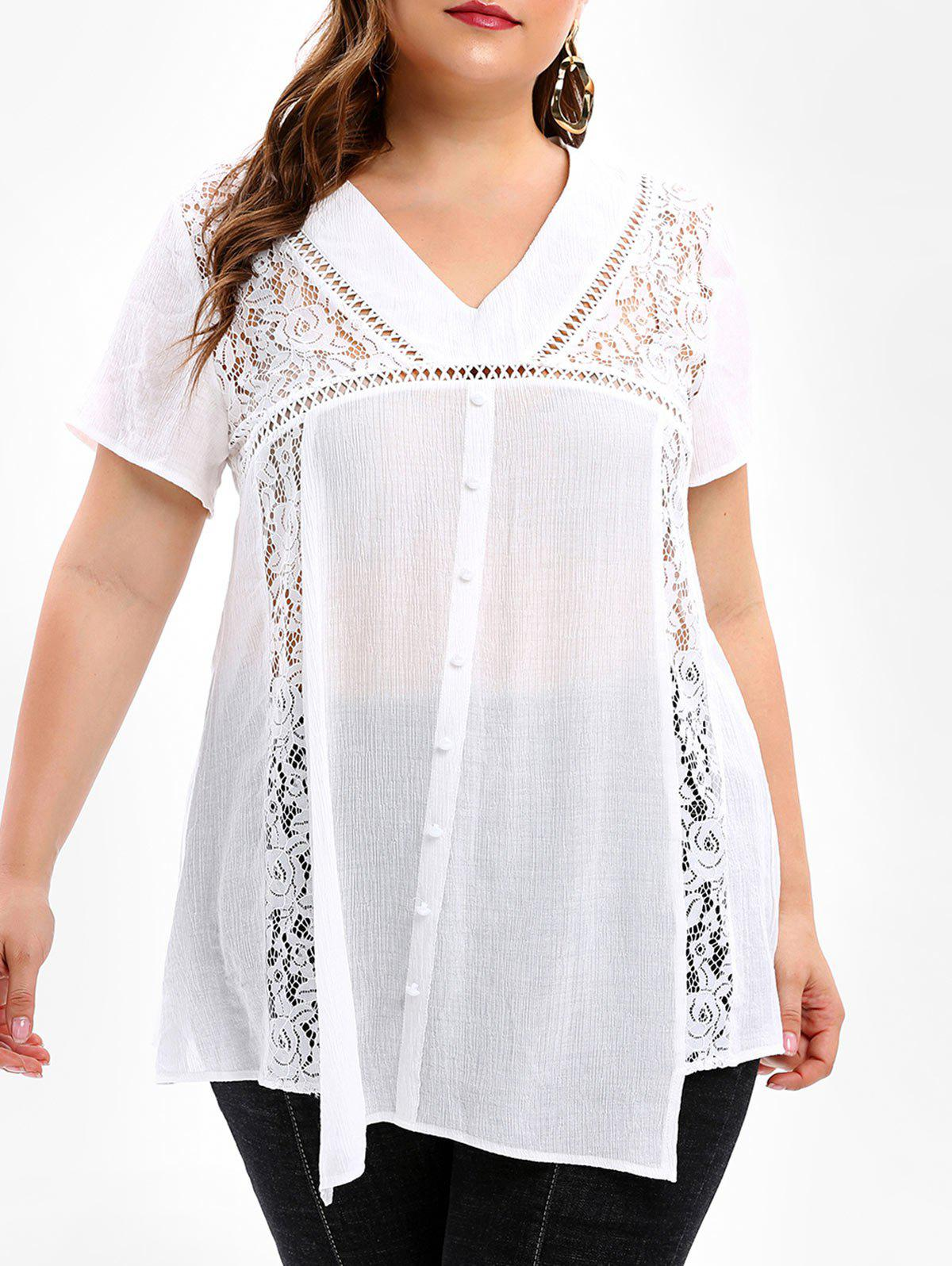 Plus Size Lace Panel See Through Blouse фото