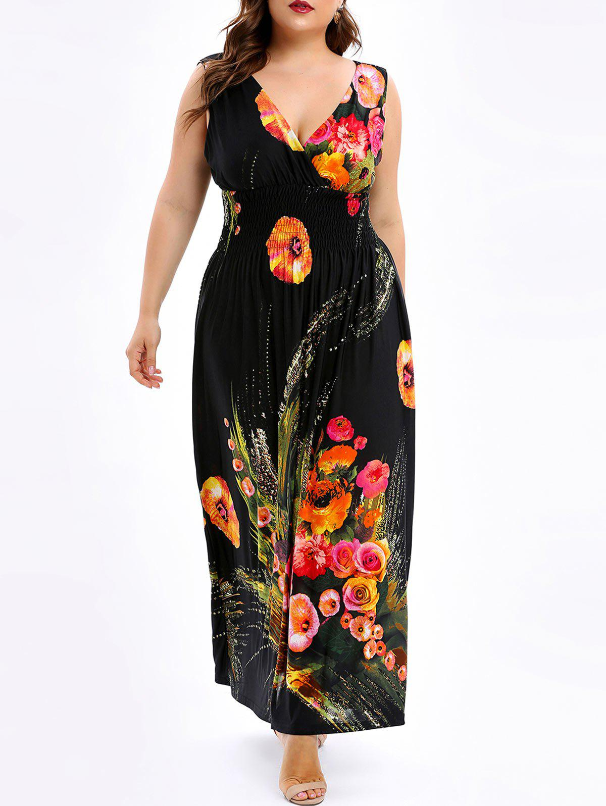 Trendy Floral Shirred Plus Size Maxi Dress