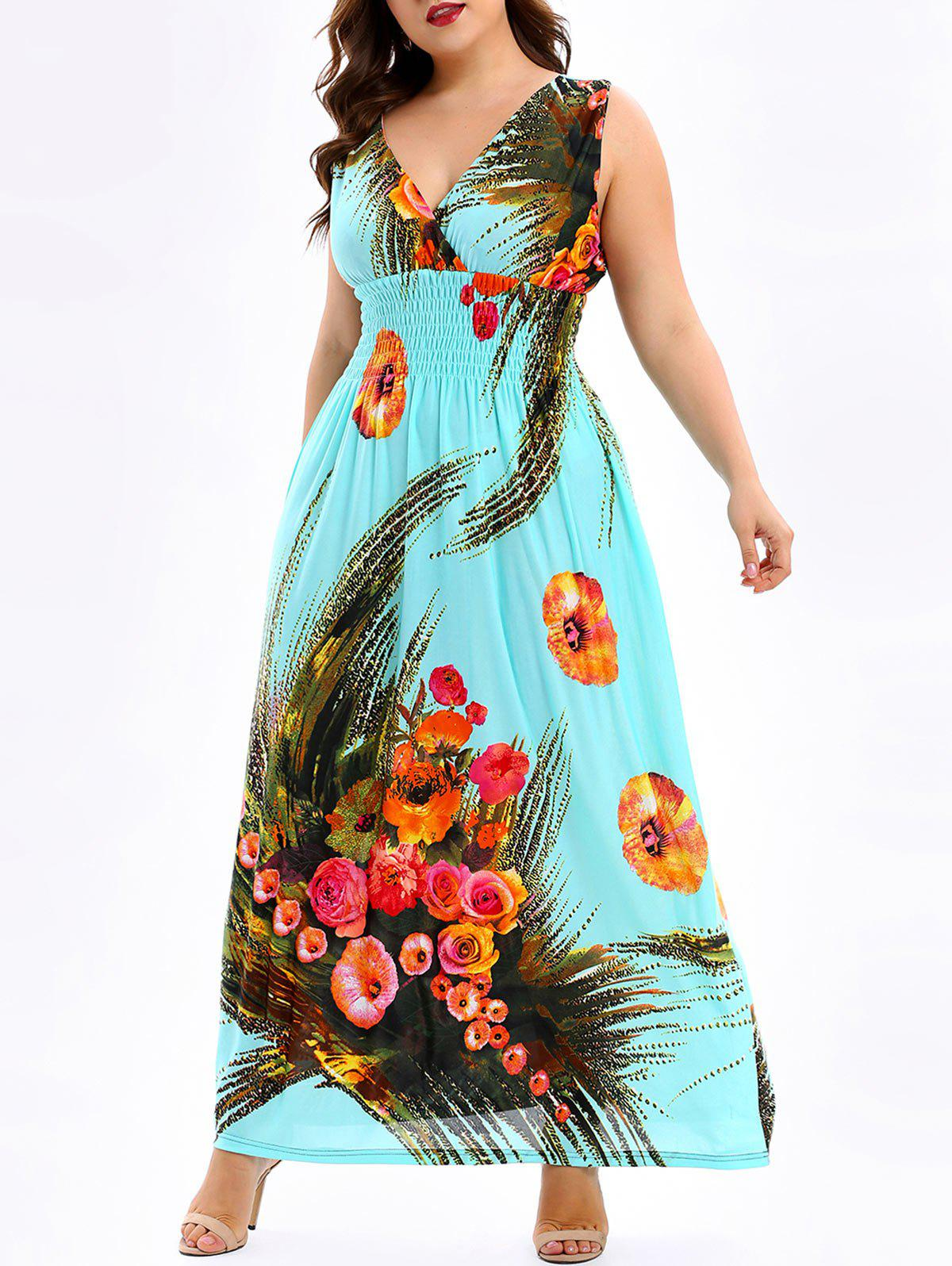 Floral Shirred Plus Size Maxi Dress