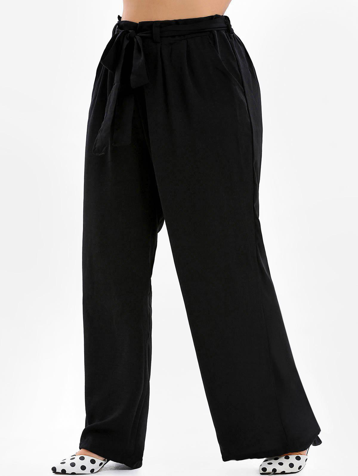 Fashion Plus Size Belted Wide Leg Pants