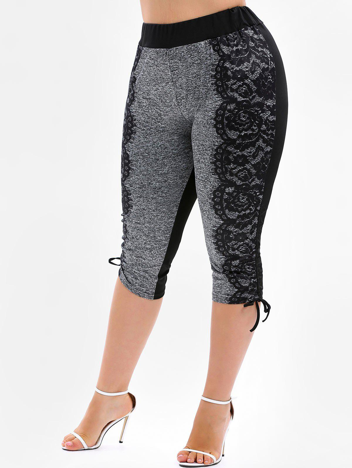 Online Plus Size Drawstring Cinched Capri Leggings