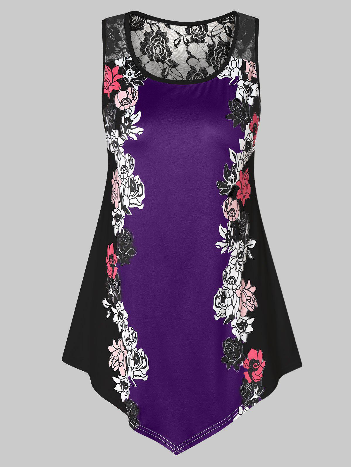 2e9a7083c33 30% OFF  Plus Size Floral Tank Top With Lace