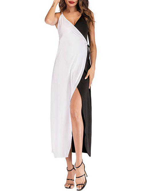 Sale Two Tone Slit Wrap Dress