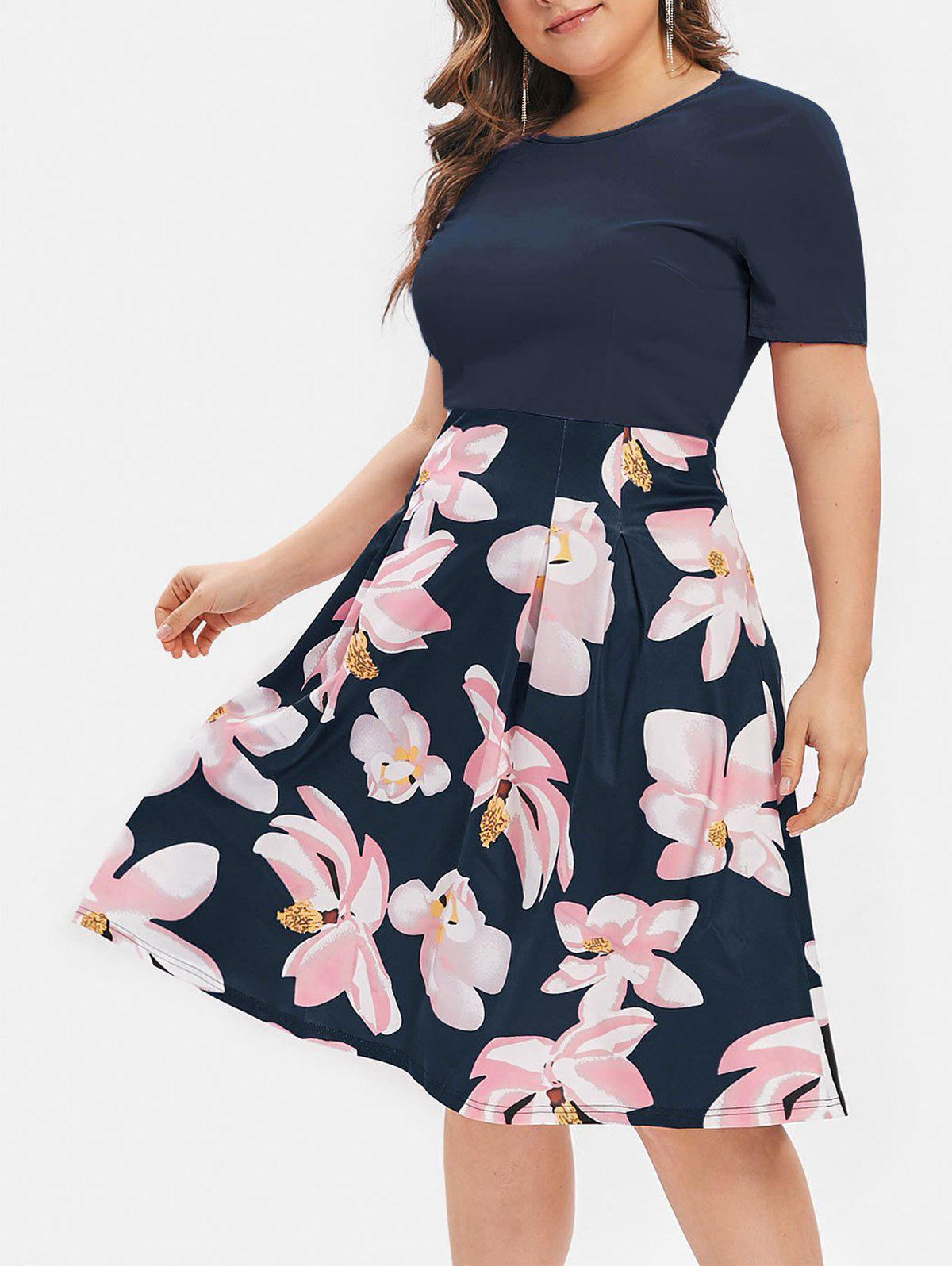 ecc82f8824c59 36% OFF   2019 Flower Plus Size Midi A Line Dress