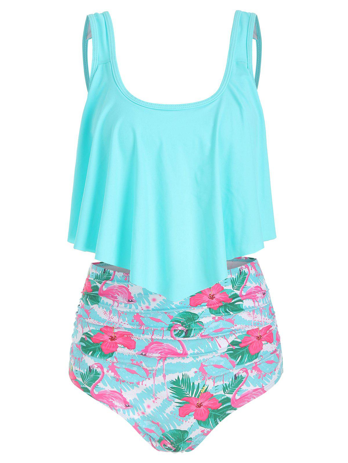 Store Flamingo Print High Waist Tankini Set