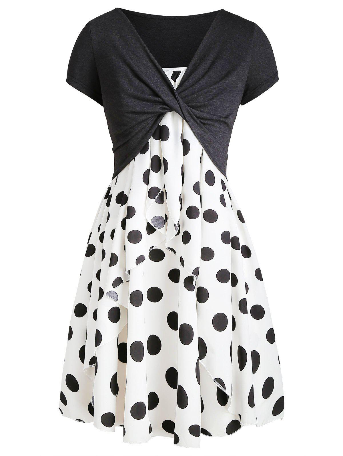 Shop Cami Polka Dot Dress with Crop T-shirt