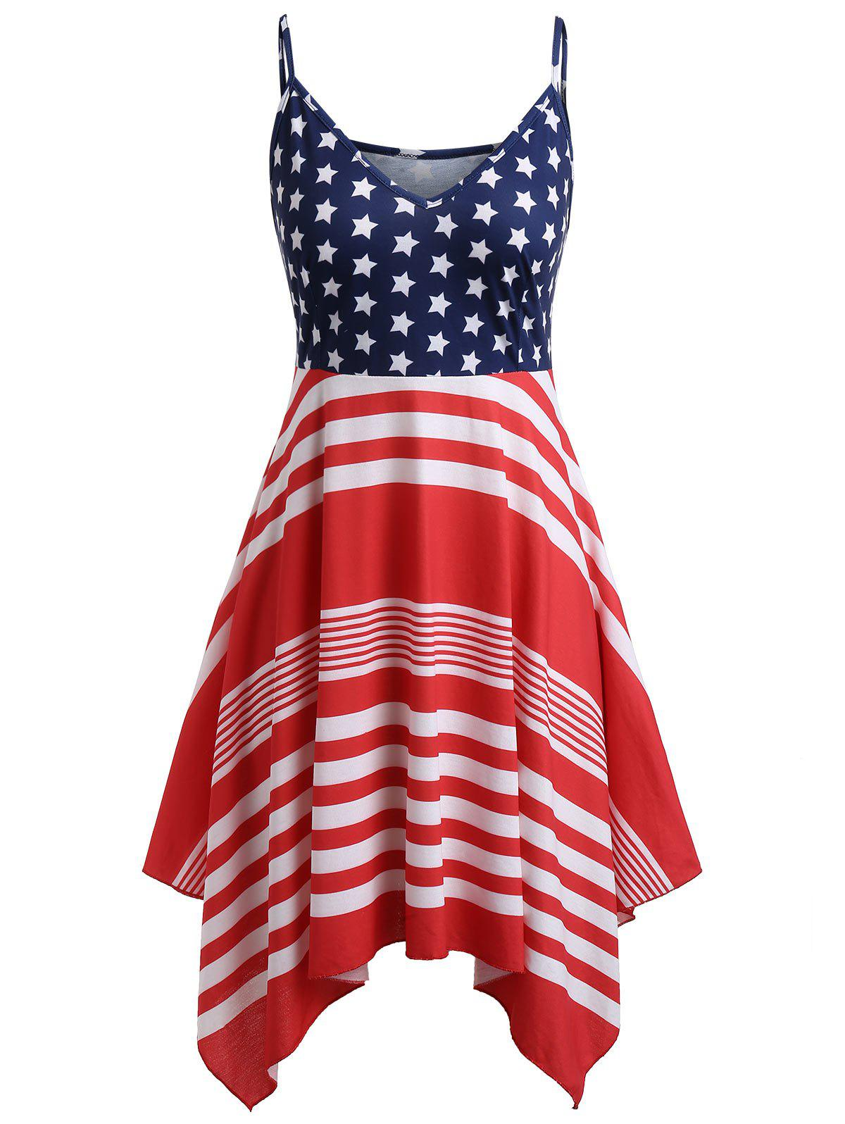 Affordable Plus Size American Flag Print Handkerchief Dress