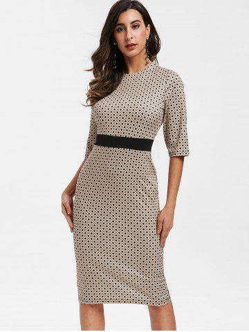 Geometric Print Half Sleeve Bodycon Dress