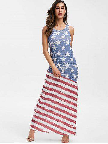 American Flag Print Sleeveless Dress