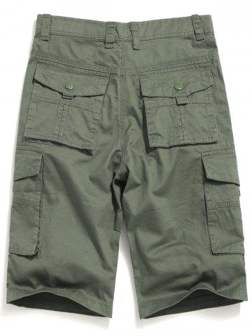 Solid Color Leisure Cargo Shorts, Army green