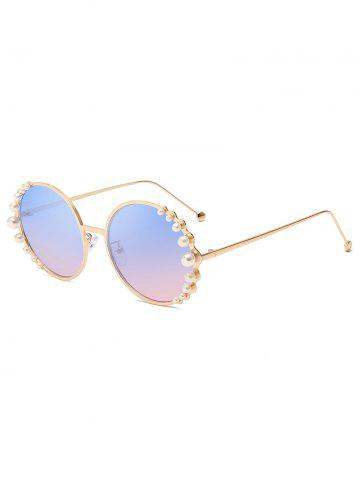 Pearl Decorated Round Frame Polarized Sunglasses