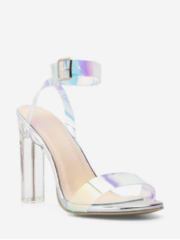Holographic Clear Block Heel Sandals