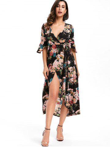 V Neck Floral Print Asymmetric Wrap Dress