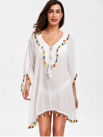 Batwing Sleeve Tassels Tunic Cover Up