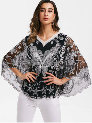 Mesh Panel Butterfly Swing Blouse