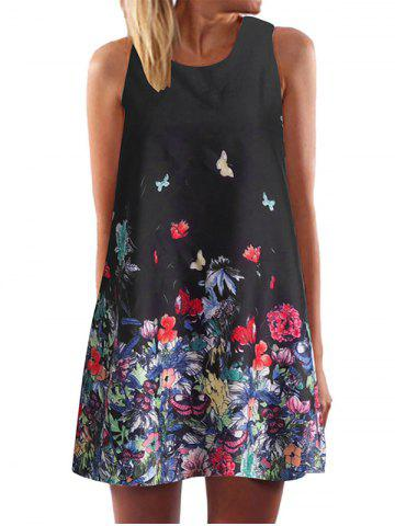 Round Collar Floral Print Sleeveless Dress