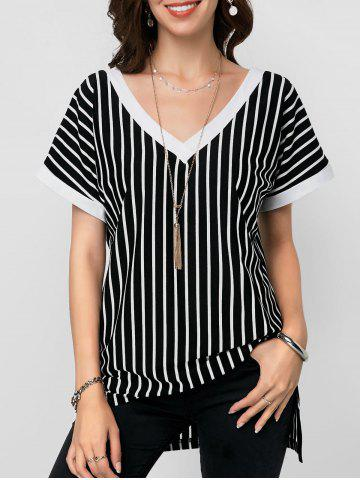 Striped Double V Slit Blouse