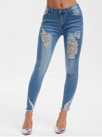 Ripped Faded Wash Denim Jeans