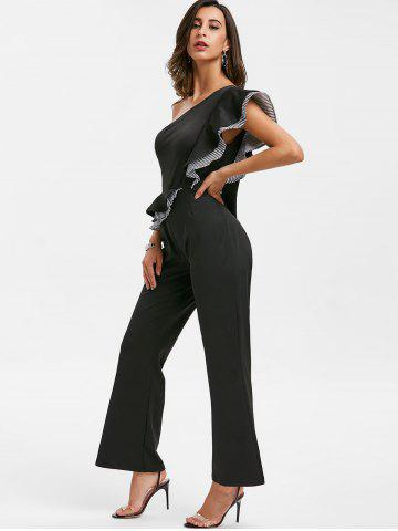 One Shoulder Striped Straight Jumpsuit