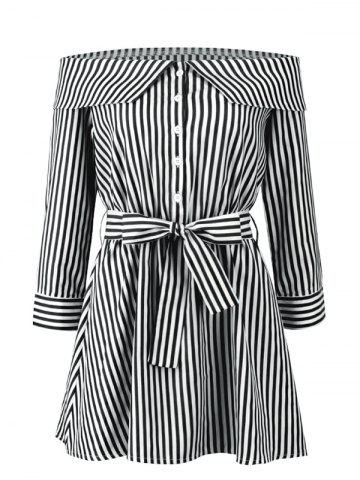 Stripes Off Shoulder Mini Dress