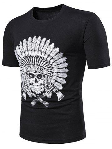 81521d9f49d Indian Skull Print Short Sleeve T Shirt