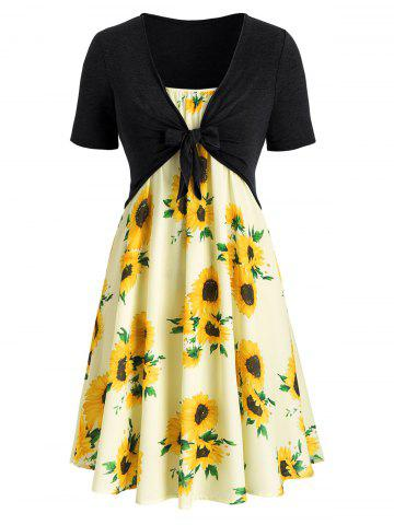 7a173ec8e09 Plus Size Sunflower Print Knotted Two Piece Dress