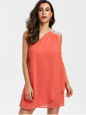 Sequined Panel Chiffon One Shoulder Dress
