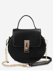 Faux Leather Flap Chain Crossbody Bag -