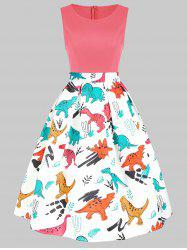 Dinosaur Print Sleeveless A Line Dress -