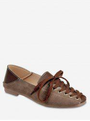 Lace-up Design Square Toe Casual Shoes -