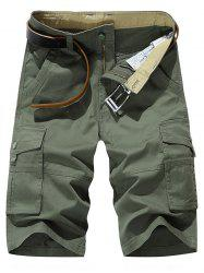 Solid Color Leisure Cargo Shorts -