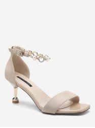 Faux Pearl Ankle Strap Sandals -