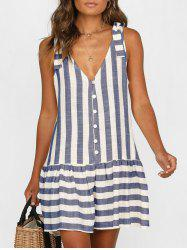 Plunge Striped Casual Tank Dress -