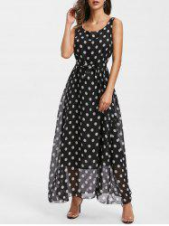 Polka Dot Sleeveless Belt Dress -