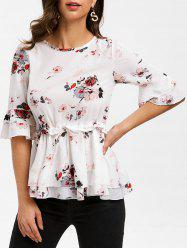 Floral Print Half Sleeves Drawstring Blouse -