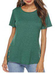 High Low Button Embellished T-shirt -