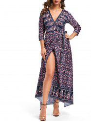 V Neck Printed Bohemian Wrap Dress -