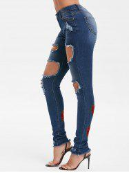 Ripped Embroidery Floral High Waist Jeans -