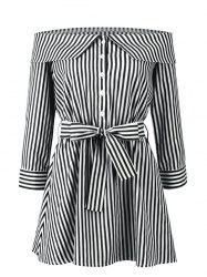 Stripes Off Shoulder Mini Dress -