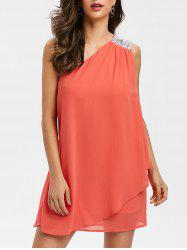 Sequined Panel Chiffon One Shoulder Dress -