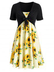 Plus Size Sunflower Print Knotted Two Piece Dress -