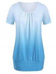 Plus Size Ombre Round Collar T Shirt -