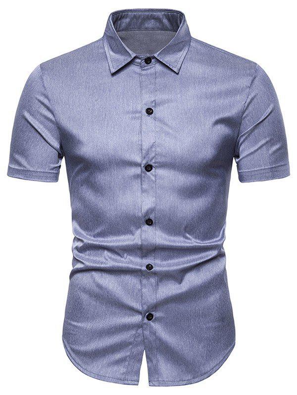 Solid Color Short Sleeve Shirt, Blue gray