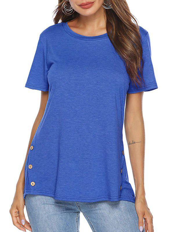 Outfits High Low Button Embellished T-shirt